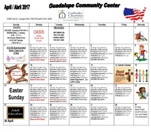 Guadalupe Community Center April 2017 Calendar